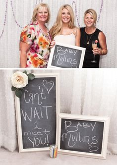 Cute chalkboard @ baby shower I would love a little section with a nice back drop where people can take pictures of themselves with a message for mom's/baby. Maybe Polaroid for instant pics to put in baby book Grey Baby Shower, Baby Shower Fun, Baby Shower Gender Reveal, Shower Party, Baby Shower Parties, Baby Boy Shower, Baby Showers, Baby Shower Photo Booth, Baby Shower Photos