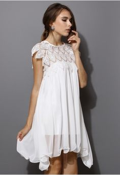 Swing White Dress with Lace Top - Retro, Indie and Unique Fashion