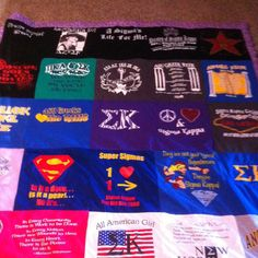 T-shirt blanket. Should totally do this with my soon to be trillions of Pi Phi shirts like years from now :)))) so cute!!