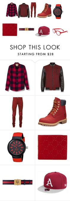 """""""we are red people"""" by aandre-va on Polyvore featuring Banana Republic, True Religion, AMIRI, Timberland, Lacoste, Gucci, New Era, See Concept, men's fashion and menswear"""