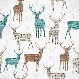 Merry Christmas vintage reindeer grunge seamless pattern. Royalty Free Stock Images