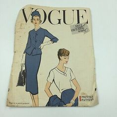 1957 VOGUE COUTURIER Design Suit pattern includes Jacket, Skirt, and Blouse. Pattern # 996 Size 1636 Bust / 38 HipThe pattern has been cut. All 22 pieces are there. Instructions are included.Condition is vintage used. Naturally there are pin holes in the pattern from being pinned to fabric. Patten cover has some shelf wear and has a few small tears, creases, and holes.Sorry, no returns on the pattern, Blouse And Skirt, Blouse Dress, Suit Pattern, Vogue Sewing Patterns, Pant Shirt, Vintage Jacket, Cool Suits, Print Patterns, Shelf