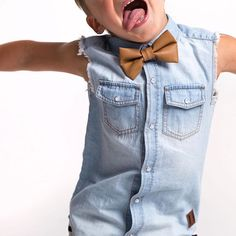 Outfit FAVE alert! Our Lion Bowtie & Chambray Sleeveless!  AND we have just RESTOCKED with our Lion bowties! Both items available online now! www.beauhudson.co