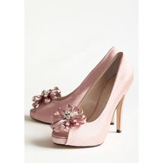 Chantelle Embellished Heels In Rose (105 BRL) ❤ liked on Polyvore featuring shoes, pumps, rhinestone platform pumps, high heel pumps, embellished pumps, rhinestone pumps and rhinestone peep toe pumps