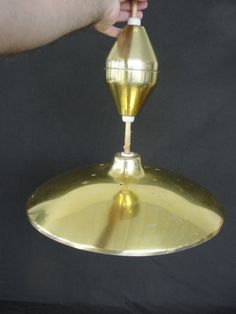 Vintage Mid Century Modern UFO Flying Saucer Retractable Light Fixture