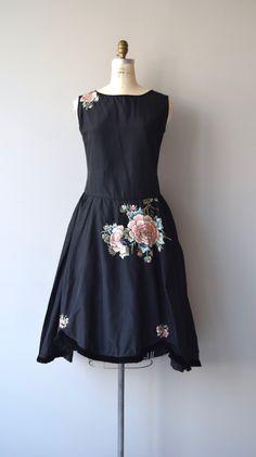 Jeanne Lanvin inspired vintage 1920s robe de style dress in black silk taffeta…