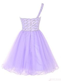 One Shoulder Beading Tulle Short  Mini Homecoming Cocktail Dress #homecomingdresses