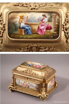 Gilt bronze casket with allegorical scenes and landscapes