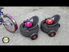 Make a Bicycle Kart Trailer for Kids - Diy Toys Hi guys today I show you this project made for my little ones. With the recycled tires and the iron drawn, he. Outdoor Fun For Kids, Backyard For Kids, Outdoor Play, Diy For Kids, Crafts For Kids, Diy École, Tyres Recycle, Backyard Playground, Diy Toys