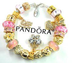 Authentic Pandora Silver Charm Bracelet with European Charms Gold heart Love #Pandoralobsterclaspclaw #European