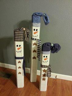 Wooden Snowmen!