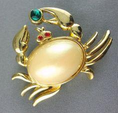 Brooch Crab Beach Pin Pearl Cab Ruby Eyes Emerald Claw Rhinestone
