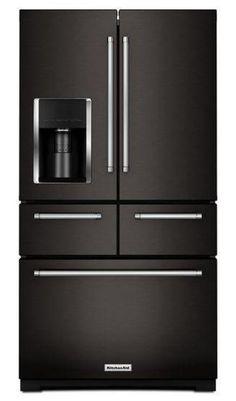 New 2015 KitchenAid® 26.2 Cu. Ft. 36-Inch Width 5-Door Standard Depth French Door Refrigerator with Exterior Ice and Water Platinum Interior.