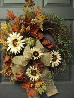 Items similar to Fall Wreath, Autumn Wreath, Harvest Wreath, Door Wreath, Fall… Thanksgiving Wreaths, Autumn Wreaths, Thanksgiving Decorations, Holiday Wreaths, Wreath Fall, Wreath Burlap, Fall Door Wreaths, Tulle Wreath, Hydrangea Wreath