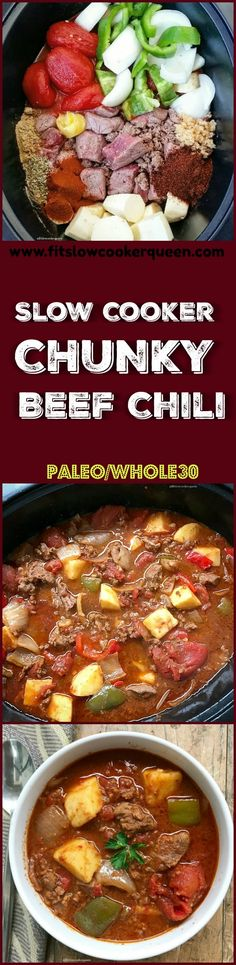 slow cooker crockpot paleo - This chunky chili will hit the spot but not the waistline. Bean-free paleo and compliant it includes chunks of stew meat sweet potatoes onions and bell peppers. Crockpot Dishes, Crock Pot Slow Cooker, Crock Pot Cooking, Beef Dishes, Slow Cooker Recipes, Crockpot Recipes, Chili Recipes, Paleo Recipes, Cooking Recipes