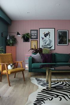 green sofa pink wall
