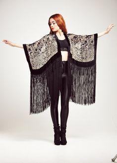 Velours noir frange Kimono - Midnight Magic