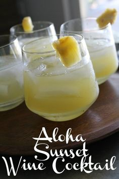 Beat the summer heat with this Aloha Sunset Wine Cocktail. This wine cocktail has a hints of the tropics and is a refreshing way to enjoy summer. Cocktails Vin, Summer Cocktails, Cocktail Drinks, Cocktail Recipes, Alcohol Drink Recipes, Wine Recipes, Vodka Recipes, Fireball Recipes, Margarita Recipes
