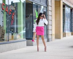 Check out this gorgeous pink bow skirt and ruffle top on my website at http://colorsofmei.com/pink-bow-skirt/