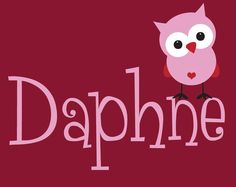 Owl Wall Decal with Name - Children's Room Wall Art Vinyl Personalized Girl Baby Toddler Decal