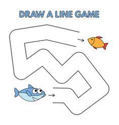 Cartoon shark draw a line game for kids vector Shark Games For Kids, Logic Games For Kids, Activity Games For Kids, Fun Worksheets For Kids, Mazes For Kids, Educational Games For Kids, Preschool Learning Activities, Book Activities, Kids Learning