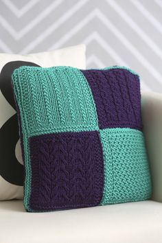 Sampled Stitches Pillow - Experiment with slip stitches and cables while creating a sampler pillow in vibrant, spring colors. This pillow is a great introduction to slip stitches, increasing, decreasing and cables and produces a bright spring accessory for your home. From the April 2015 issue of I Like Knitting