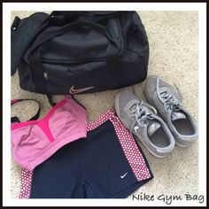 """Nike gym bag Great Nike gym bag. In good shape but has been worn. Has one exterior pocket. Approximately 10"""" by 17"""" across the bottom. Nike Bags Travel Bags"""