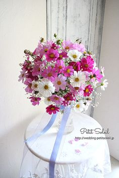 264.コスモスのブーケ Fall Bouquets, Wedding Bouquets, Wedding Flowers, Flower Vases, Flower Art, Flower Decorations, Wedding Decorations, Spring Wedding Colors, Fall Flowers