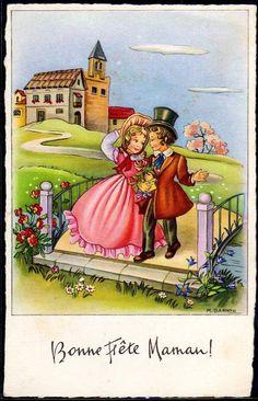 DZ094 A S Barnini Bonne Fete Maman Couple D'Enfants Fleurs   eBay