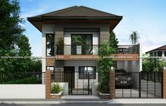 is a Two Story House Plan with 3 bedrooms, 2 baths and 1 garage.] is a Two Story House Plan with 3 bedrooms, 2 baths and 1 garage. Two Story House Design, 2 Storey House Design, Duplex House Design, Simple House Design, House Plans One Story, New House Plans, Small House Plans, Modern House Design, House Design Plans