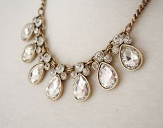 Silver / Antique Gold Clear Raindrop Jeweled Crystal Statement Necklace / Anthropologie Chunky Statement / Bib Necklace / Jcrew Necklace $9.80