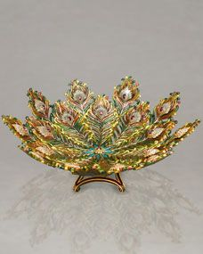"""Jay Strongwater  """"Hera"""" Peacock Feather Bowl ($7400)"""