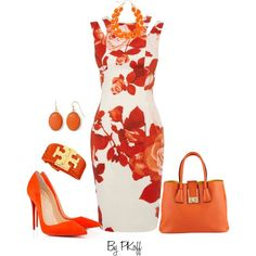 Floral Dress by pkoff on Polyvore featuring moda, Karen Millen, ALDO, Tory Burch, Liz Claiborne and Mixit