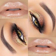 Pretty peach and gold eye makeup