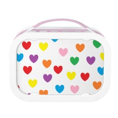 Rainbow Hearts Lunch Box Set will be great for back-to-school! Includes large (sandwich) container, two small containers, and ice pack. 100% dishwasher safe (excluding faceplates).