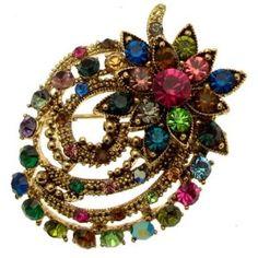 Rainbow Swarovski Crystal - Vintage Style Floral Corsage Brooch