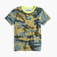 Boys' camo neon ringer T-shirt