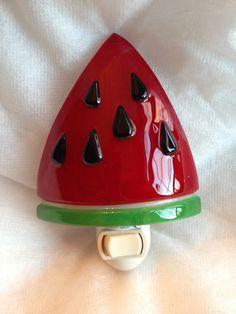 Nightlight Fused Glass Watermelon Slice Free by cheecheesglass, $20.00