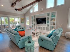 An Aqua Leather Living Room Set? The Comfy Furnishings Fit Right In At Aqua  Cove, A Breezy Canal Front Home On Anna Maria Island, Florida!
