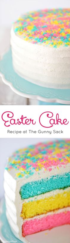 This Easter Cake recipe is easy to make, pretty to look at and fun to eat! It is covered with a fluffy vanilla bean frosting. It would also be perfect for Mother's Day, a baby shower or any spring celebration! #eastercake #layercake