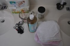 cloth wipes solution - hot water, Dr. Bronner's castile liquid soap, coconut oil and tea tree oil.