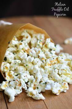 Italian Truffle Oil Popcorn | from willcookforsmiles.com #snack #moviesnack Popcorn Snacks, Popcorn Recipes, Popcorn Toppings, Popcorn Bowl, Flavored Popcorn, Appetizer Recipes, Snack Recipes, Cooking Recipes, Appetizers