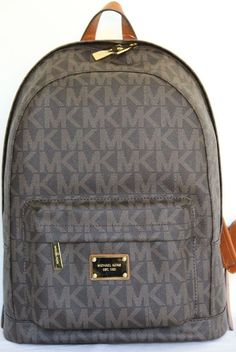 Michael Kors Signature Jet Set Large Backpack Book Bag PVC Leather Brown Gold #MichaelKors #BackpackStyle