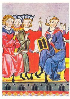 иллюстрация к поэме Готфрида Страсбургского о Тристане и Изольде. Миниатюра из Манесского кодекса. 14 в. Гейдельберг. Библиотека университета.