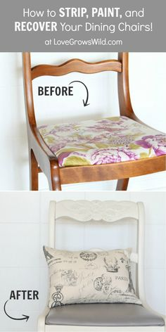 EVERYTHING you need to know about Stripping, Painting, and Recovering your dining chairs! Get step-by-step instructions and the best products to use at LoveGrowsWild.com #diy #makeover