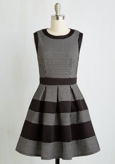 Tenth Floor Fab Dress. Live up another day in your corner office looking delightful in this black and white fit and flare! #white #modcloth