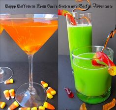 Candy Corn Cordial and Swamp Juice                           for Halloween