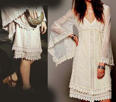 XS Free People Ivory Nightingale Lace Crochet Tea Embroidered 5* Dress Lovely  #FreePeople #TeaDress