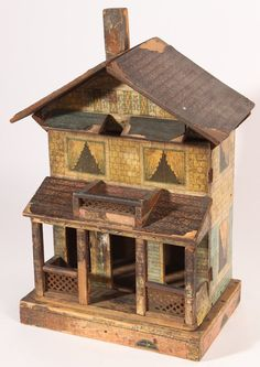 German Chromolithographed Doll House - May 2015 Antique Dollhouse, Wooden Dollhouse, Miniature Dollhouse, Miniature Houses, Dollhouse Furniture, Antique Dolls, Old Dolls, Train Layouts, Miniture Things