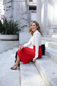 j alc red midi skirt pleated victorian collared silk blouse sjp collection carrie pumps professional women business work wear office style fashion blog san francisco mary orton